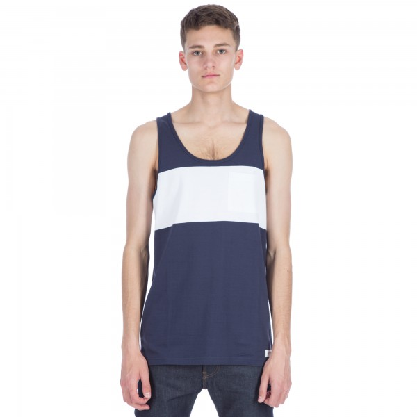 Saturday's Surf NYC Rosen Chest Stripe Tank (Navy)