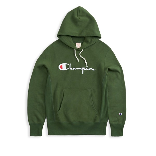 Champion Reverse Weave Script Applique Pullover Hooded Sweatshirt (Forest Green)