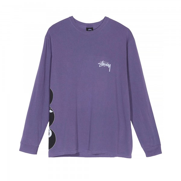 Stussy 8 Ball Stack Pigment Dyed Long Sleeve T-Shirt (Purple)