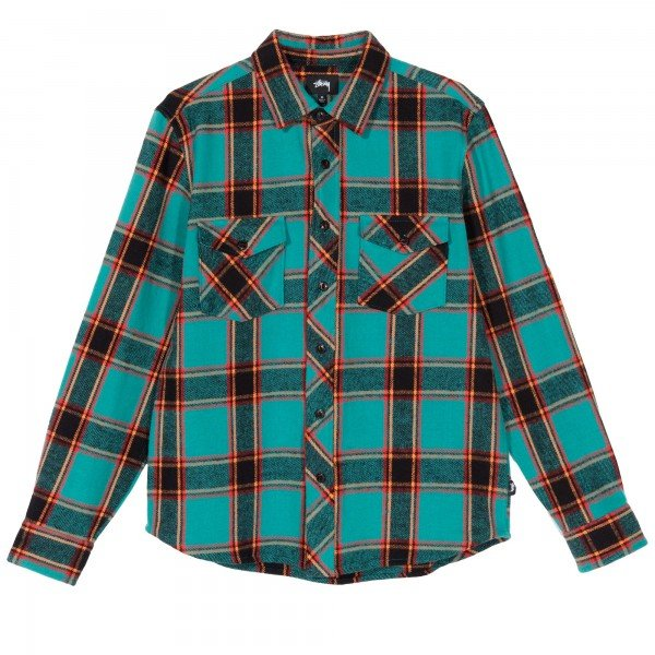 Stussy Ace Plaid Long Sleeve Shirt (Teal)