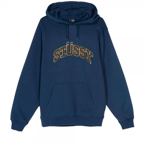 Stussy Chenille Arch Applique Pullover Hooded Sweatshirt (Navy)