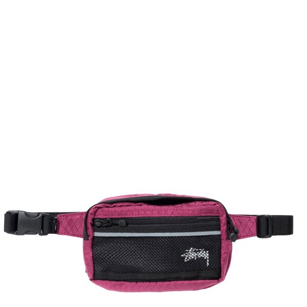 Stussy Diamond Ripstop Waist Bag (Berry)