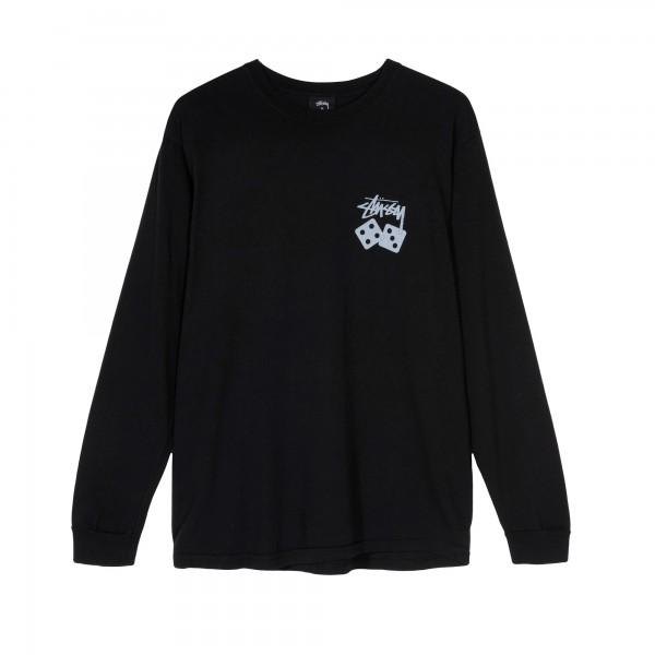 Stussy Dice Pigment Dyed Long Sleeve T-Shirt (Black)