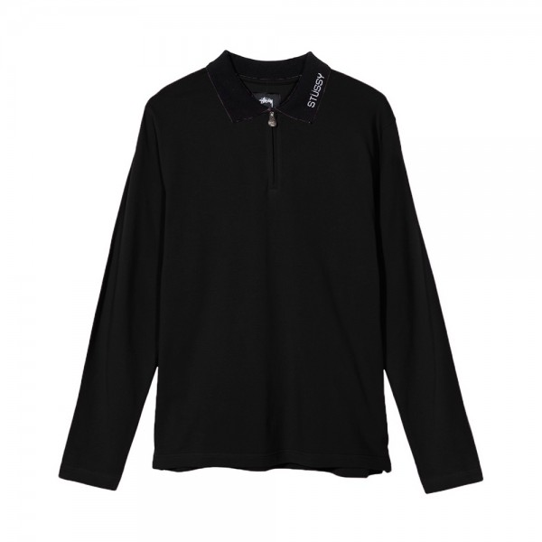 Stussy Lion Zip Long Sleeve Polo (Black)
