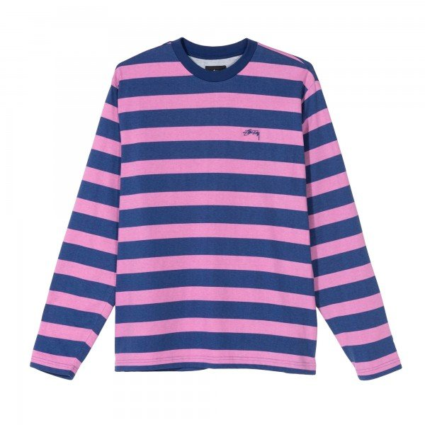 Stussy Printed Stripe Long Sleeve Crew Neck T-Shirt (Blue)