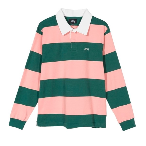 Stussy Ralphie Stripe Long Sleeve Rugby Shirt (Peach)