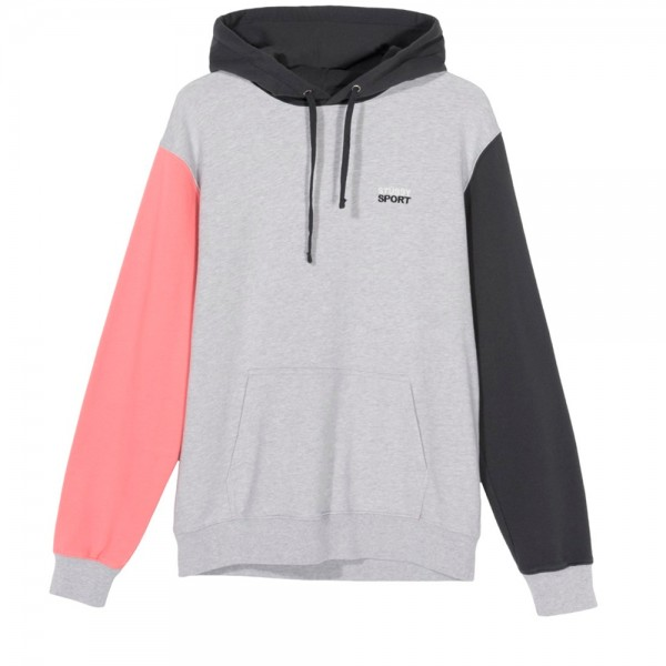 Stussy Sport Pullover Hooded Sweatshirt (Grey Heather)
