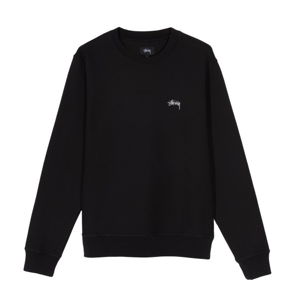 Stussy Stock Logo Crew Neck Sweatshirt (Black)