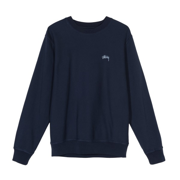 Stussy Stock Logo Crew Neck Sweatshirt (Navy)