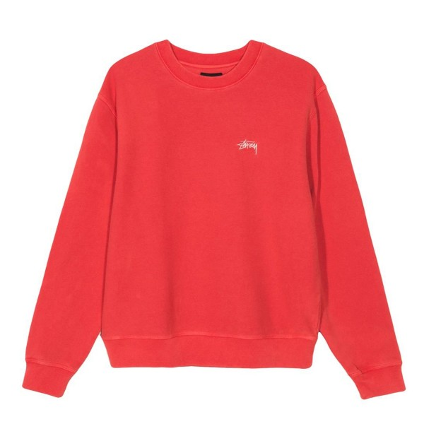Stussy Stock Logo Crew Neck Sweatshirt (Red)
