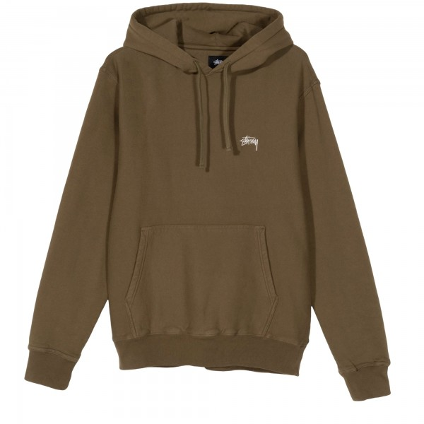 Stussy Stock Logo Pullover Hooded Sweatshirt (Olive)