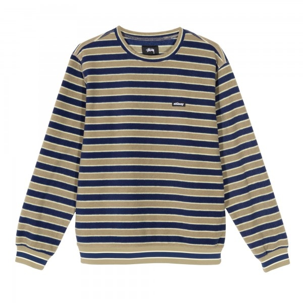 Stussy Striped Polar Crew Neck Fleece (Olive)