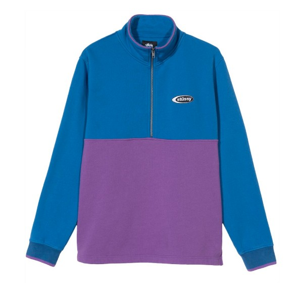 Stussy Two Tone Mock Neck Sweatshirt (Blue)