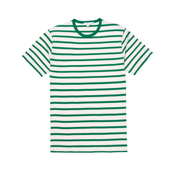 Sunspel Breton Striped Crew Neck Classic T-Shirt (Ecru/Chlorophilia Green)