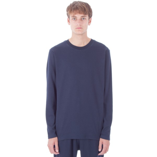Sunspel Cellulock Long Sleeve T-Shirt (Navy)