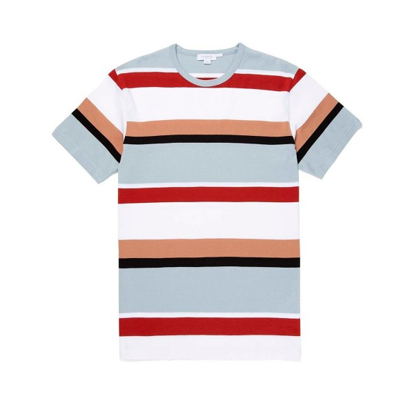 Sunspel Colour Block Striped Crew Neck Classic T-Shirt (White/Madder/Light Indigo)