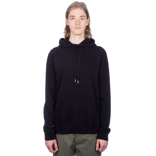 Sunspel Cotton Loopback Overhead Pullover Hooded Sweatshirt (Black)