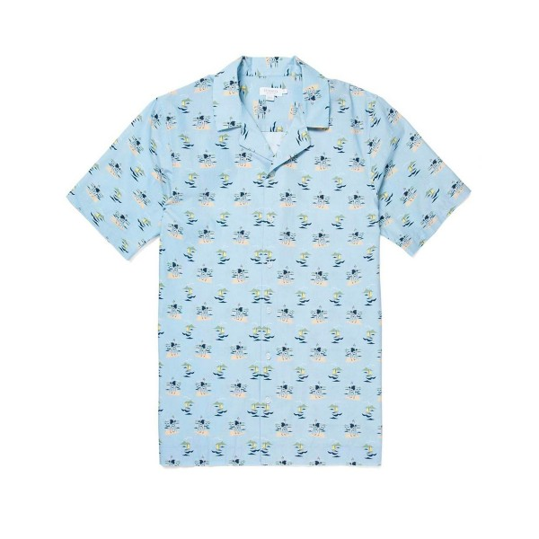 Sunspel Cotton Printed Camp Collar Shirt (Sorimachi Camera Man)