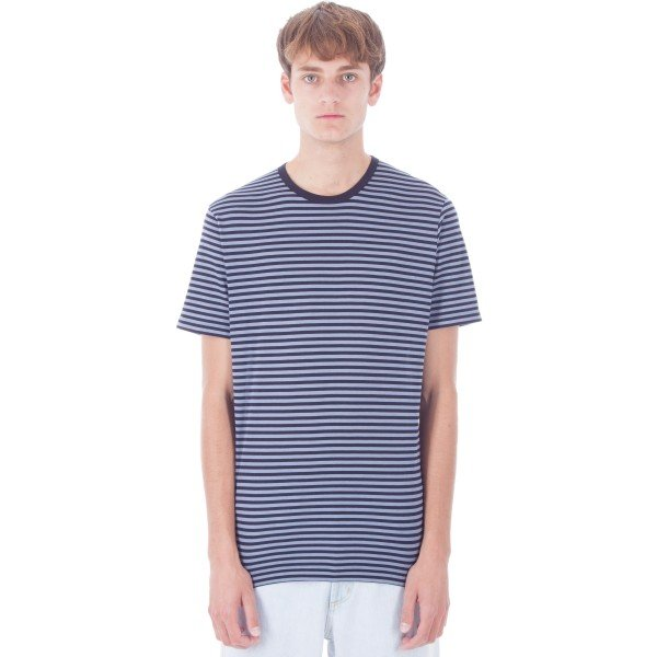 Sunspel English Stripe Crew Neck T-Shirt (Ash Blue/Navy)