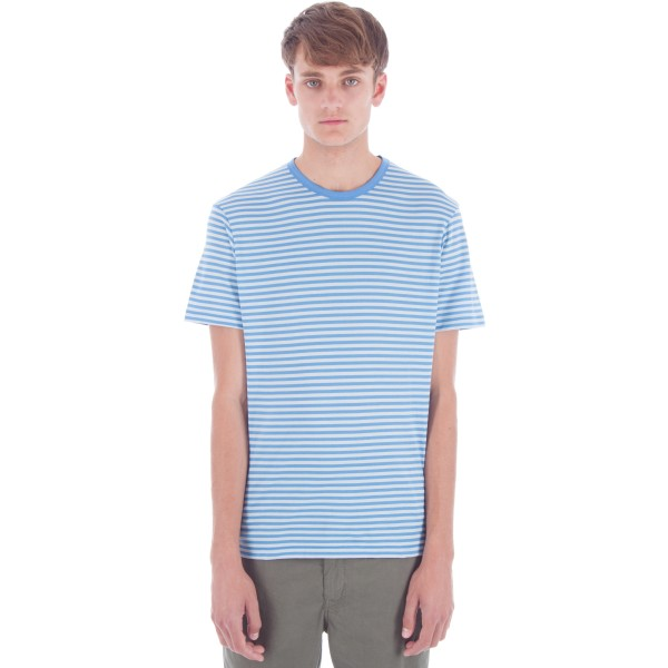 Sunspel English Stripe Crew Neck T-Shirt (Mineral Blue/Brilliant Blue)
