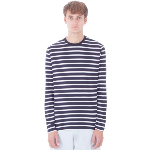 Sunspel Long Sleeve Crew Neck T-Shirt (Navy/White Brenton Stripe)