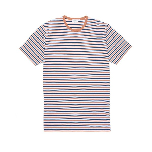 Sunspel Striped Crew Neck Classic T-Shirt (Dark Indigo/Yew/White)