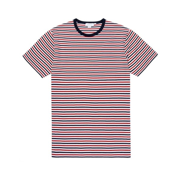 Sunspel Striped Crew Neck Classic T-Shirt (Madder/Navy/White)