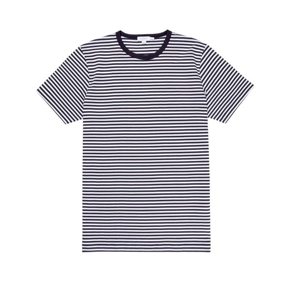 Sunspel Striped Crew Neck Classic T-Shirt (White/Navy)