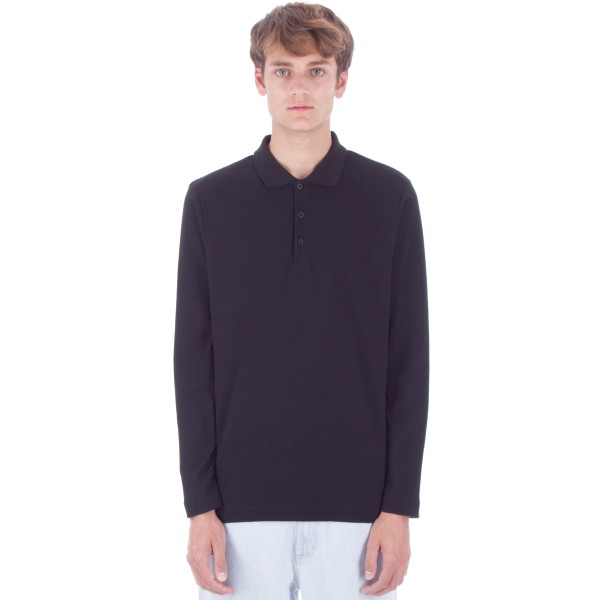 Sunspel Textured Long Sleeve Polo Shirt (Black)