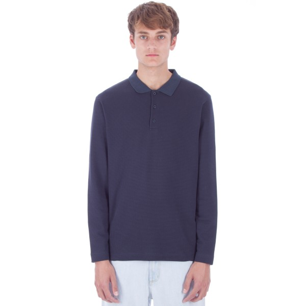 Sunspel Textured Long Sleeve Polo Shirt (Navy)