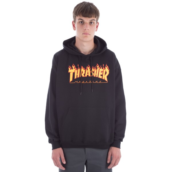 Thrasher Flame Logo Pullover Hooded Sweatshirt (Black)