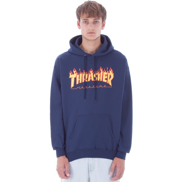 Thrasher Flame Logo Pullover Hooded Sweatshirt (Navy)