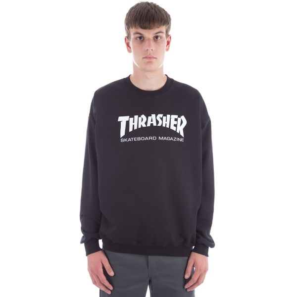 Thrasher Logo Crew Neck Sweatshirt (Black/White)