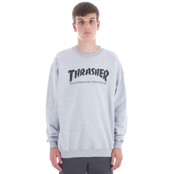 Thrasher Logo Crew Neck Sweatshirt (Heather Grey/Black)