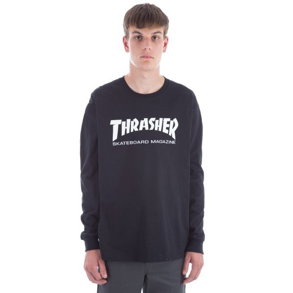 Thrasher Logo Long Sleeve T-Shirt (Black/White)
