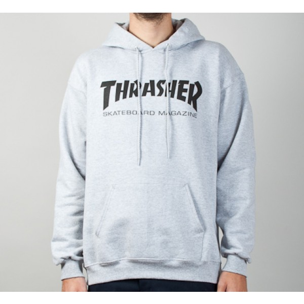 Thrasher Logo Pullover Hooded Sweatshirt (Heather Grey/Black)