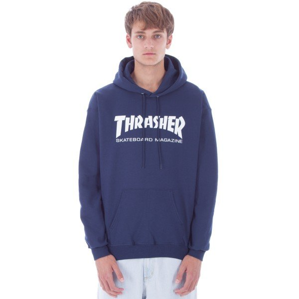 Thrasher Logo Pullover Hooded Sweatshirt (Navy)