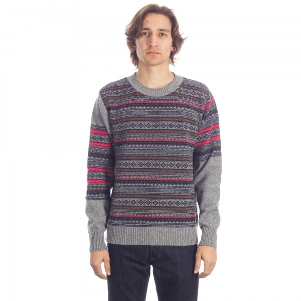 Universal Works Fairisle Crew Neck Sweatshirt (Grey Marl)