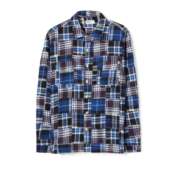 Universal Works Garage Shirt II (Blue Brushed Patchwork)