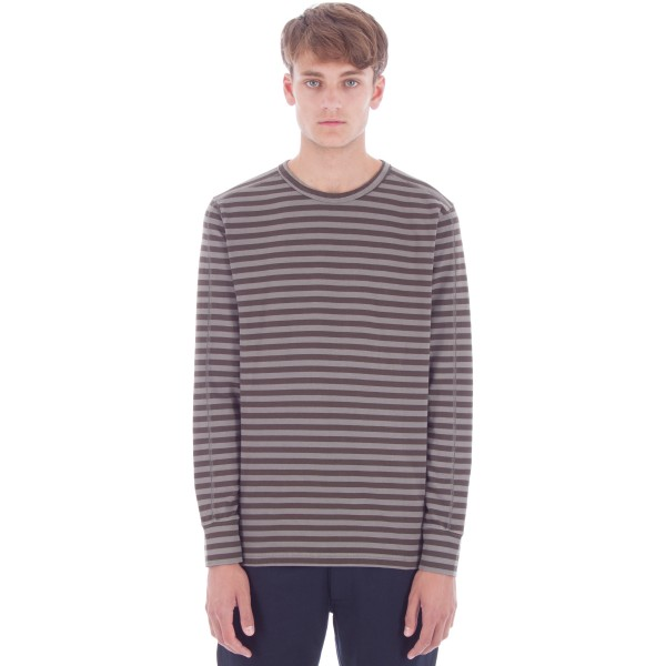 Universal Works Home Long Sleeve T-Shirt (Dark Stone Jersey Stripe)