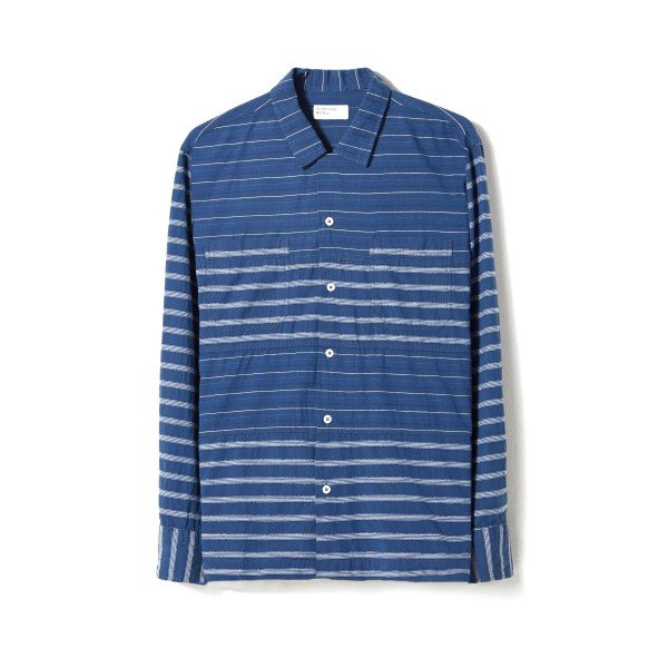 Universal Works Midnight Stripe Panel Long Sleeve Shirt (Mix)