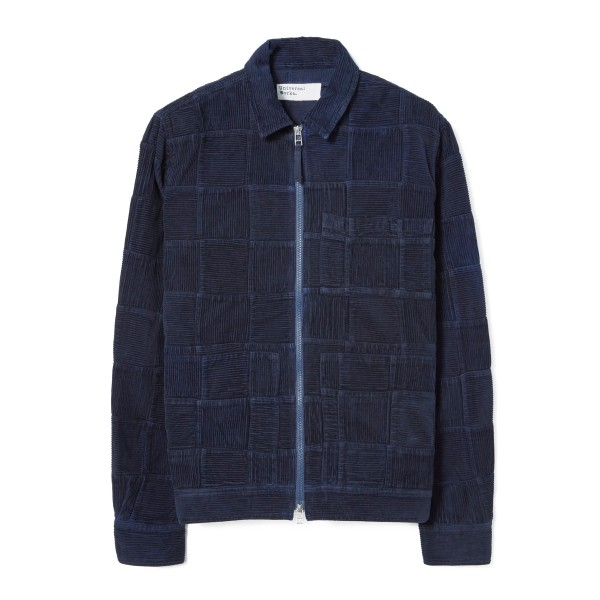 Universal Works Patchwork Corduroy Zip Uniform Jacket (Navy)