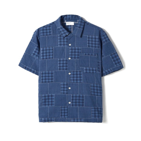 Universal Works Patchwork Madras Road Shirt (Blue)