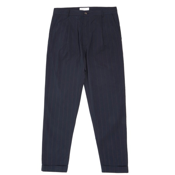 Universal Works Raised Pinstripe Pleated Pant (Navy)
