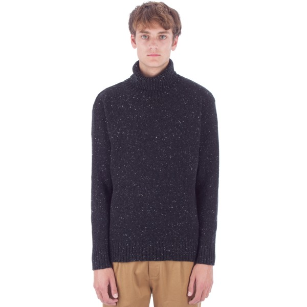 Universal Works Roll Neck Jumper (Charcoal Lambswool Fleck)