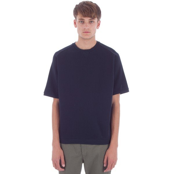 Universal Works Short Sleeve Crew Neck Sweatshirt (Navy Felpa Diagonal Cotton)