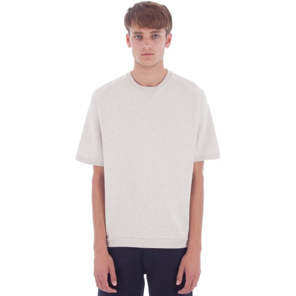 Universal Works Short Sleeve Crew Neck Sweatshirt (Sand Marl Felpa Diagonal Cotton)