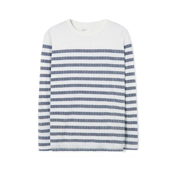 Universal Works Stripe Jersey Print Long Sleeve T-Shirt (Ecru)