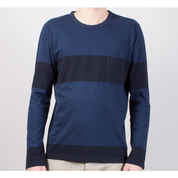 Universal Works Stripe L/S T-Shirt (Blue)