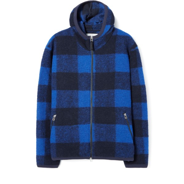 Universal Works Surfer Pullover Hooded Sweatshirt (Blue Checkwool Fleece)